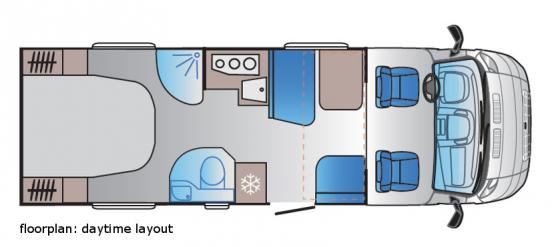 Luxury motorhome daytime floorplan