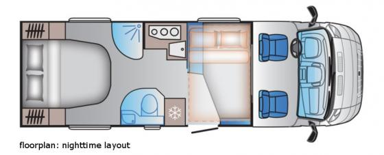 Luxury motorhome nighttime floorplan 2